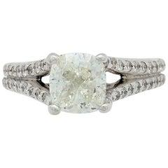 18 Karat White Gold 1.51 Carat Cushion Cut Diamond Engagement Ring SI1/I