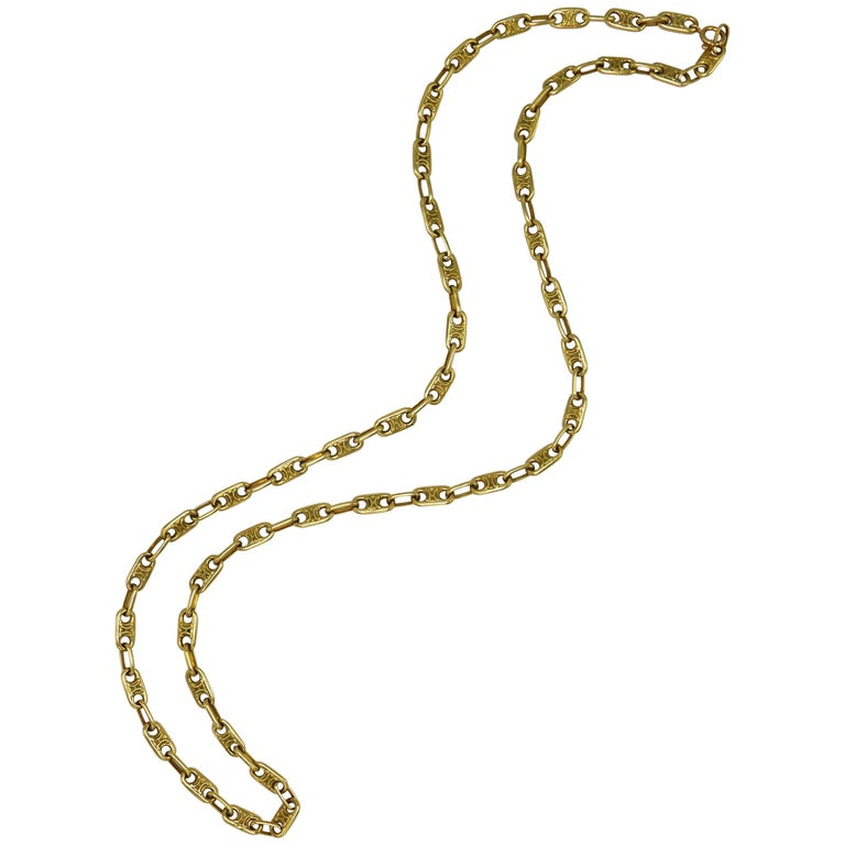 1970s Fancy Link Gold Necklace