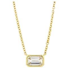 Julius Cohen 1.08 Carat Emerald Cut Diamond Necklace