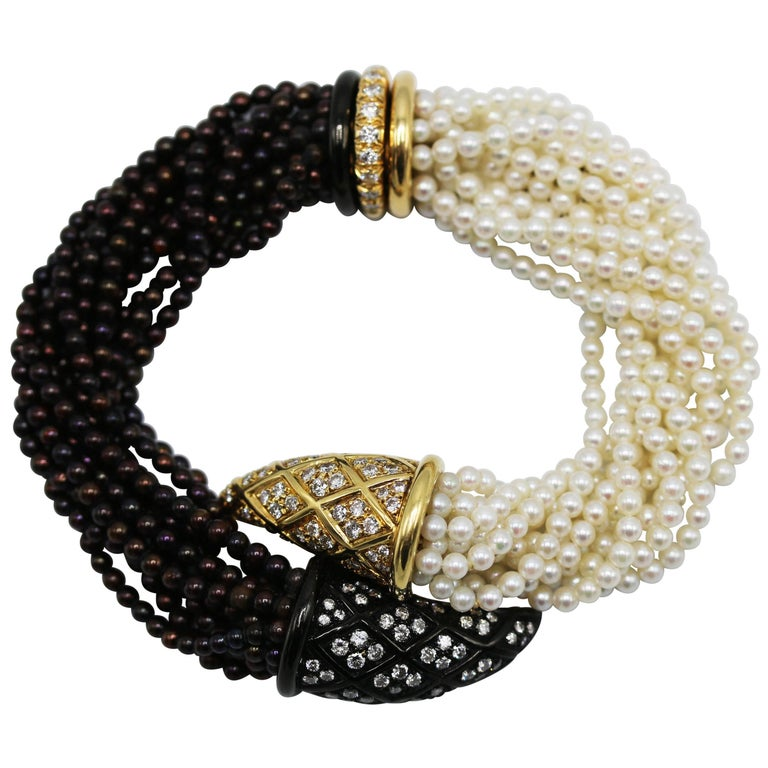 Black and White Cultured Pearl and Diamond Torsade Bracelet