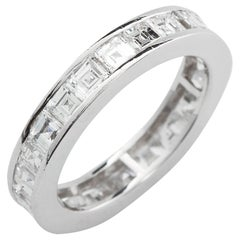 Channel Set Diamond Eternity Band Square Step Cut 18 Karat White Gold 4.50 Carat