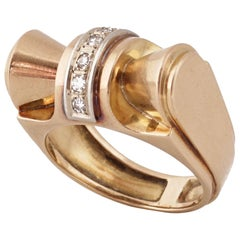 1940, Retro Gold Platinum and Round-Cut Diamonds Tank Ring