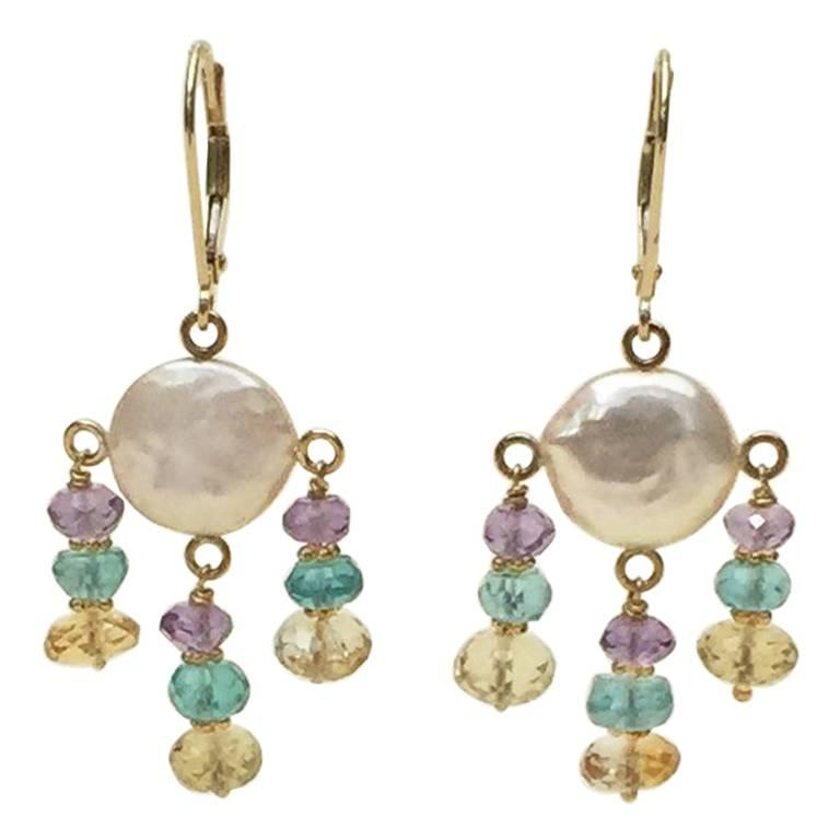 White Pearl Earrings with Amethyst, Topaz, Citrine and 14 Karat Gold by Marina J