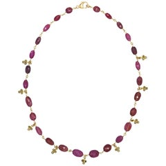 Pink Sapphire Bead and Diamond Necklace