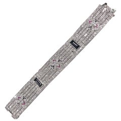 Platinum and Diamond Art Deco Bracelet with Onyx Centers, 1920s Big Diamonds