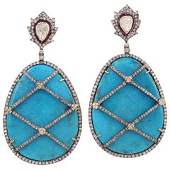 Gorgeous Diamond and Turquoise Dangle Earring