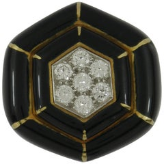 Hexagonal David Webb Gold Platinum Diamond Ring with Black Enamel