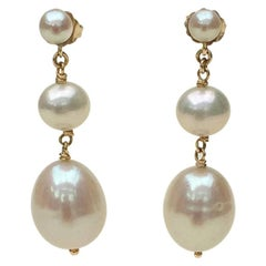 Triple White Pearl Earrings with 14 Karat Gold by Marina J
