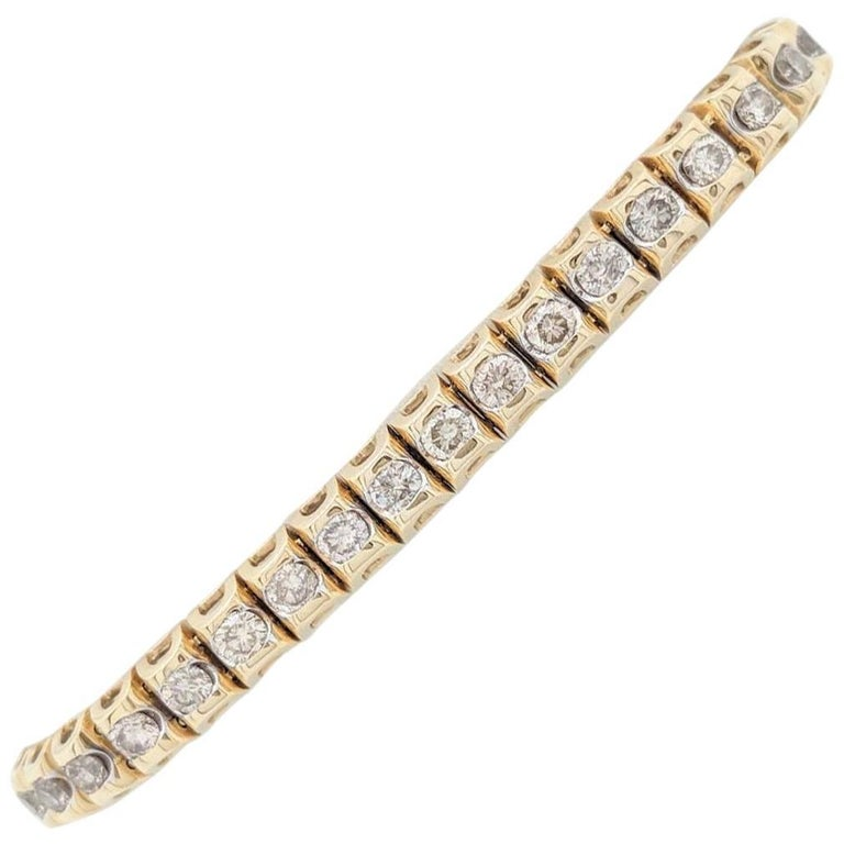 14 Karat Yellow Gold 5 Carat Diamond Tennis Bracelet