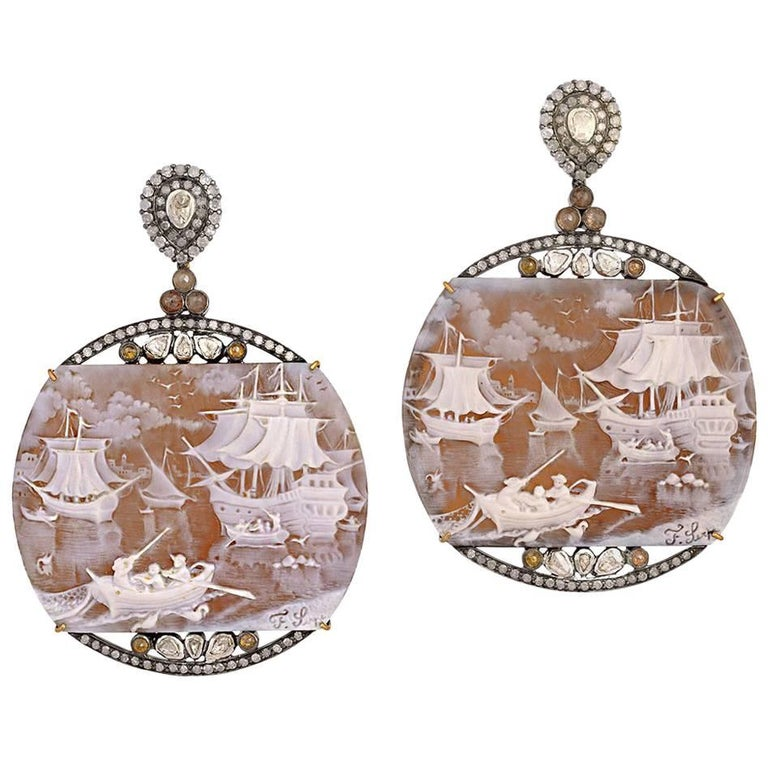 Hand-Carved Shell Cameo Earring with Diamonds