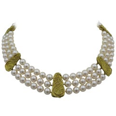 Elizabeth Gage Pearl and Gold Three Strand Necklace