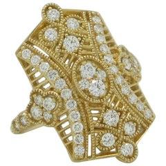 18 Karat Yellow Gold 1.15 Carat Vintage Inspired Diamond Ring