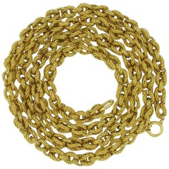 Tiffany & Co. Long Textured Gold Link Necklace