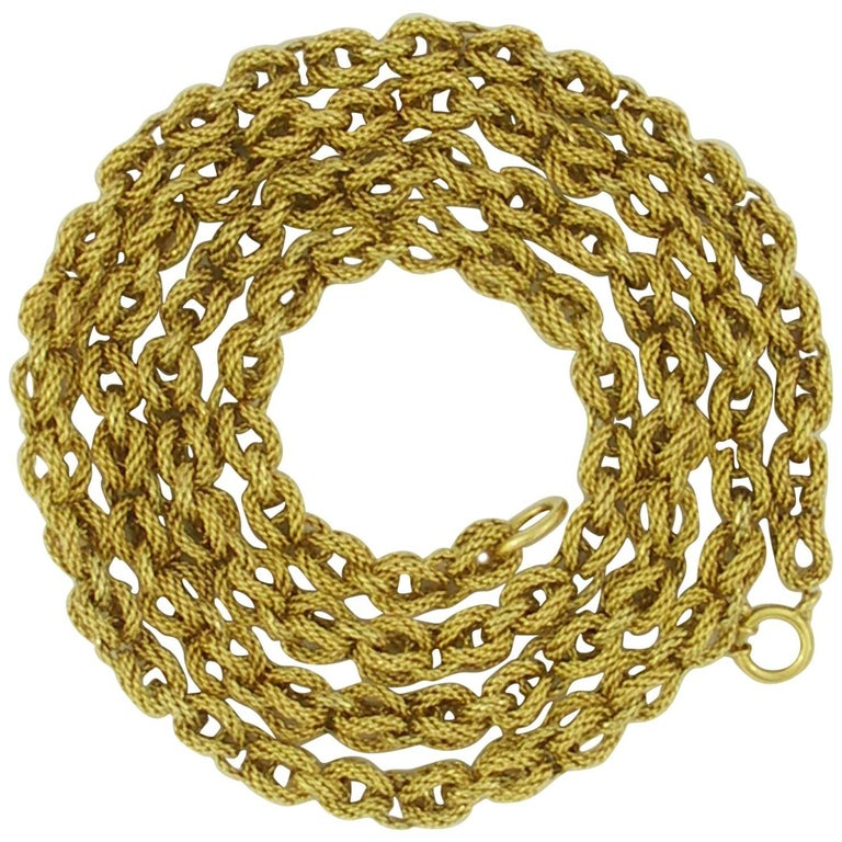 Tiffany & Co. Long Textured Gold Link Necklace For Sale