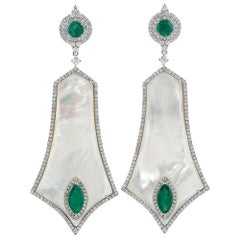 Mother-of-Pearl Earring with Diamonds and Emeralds