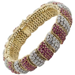 Tiffany & Company 18 Karat Yellow Gold Diamond and Ruby Bracelet, circa 1950s