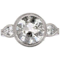Mark Broumand 4.02 Carat Old European Cut Diamond Engagement Ring