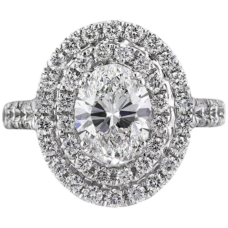Mark Broumand 3.56 Carat Oval Cut Diamond Engagement Ring For Sale