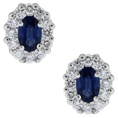 Oval Sapphire and Diamond Stud Earrings