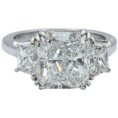 David Rosenberg 4.34 Carat Radiant Cut GIA Certified G/VS Platinum Diamond Ring
