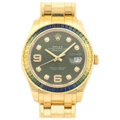 Rolex Yellow Gold Multicolor Sapphire Datejust Masterpiece Wristwatch Ref 86348