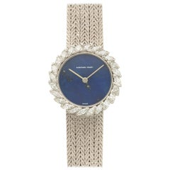 Audemars Piguet White Gold Marquise Diamond Lapis Lazuli Wristwatch