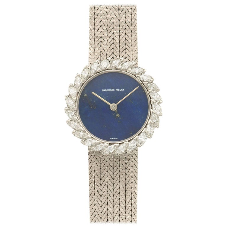 Audemars Piguet White Gold Marquise Diamond Lapis Lazuli Wristwatch