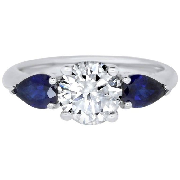 1.5 Carat Round Diamond and Blue Sapphire Ring