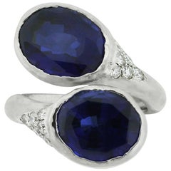 Oval Sapphire and Diamond Hammered Cocktail Ring