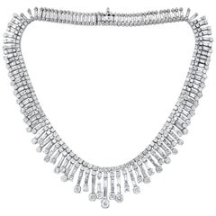 Multi-Strand Platinum 30.00 Carat Diamond Necklace