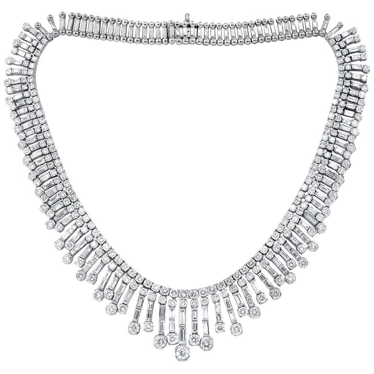 Multi-Strand Platinum 30.00 Carat Diamond Necklace