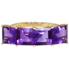 3.92 Carat Princess Cut Amethyst Ring