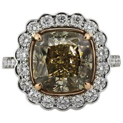 Mark Broumand 7.11ct Fancy Yellowish Brown Cushion Cut Diamond Engagement Ring