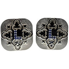 0.18 Carat Sapphire Platinum Cufflinks