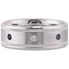 Mark Broumand Men's Sapphire and Diamond Wedding Band in 14 Karat White Gold
