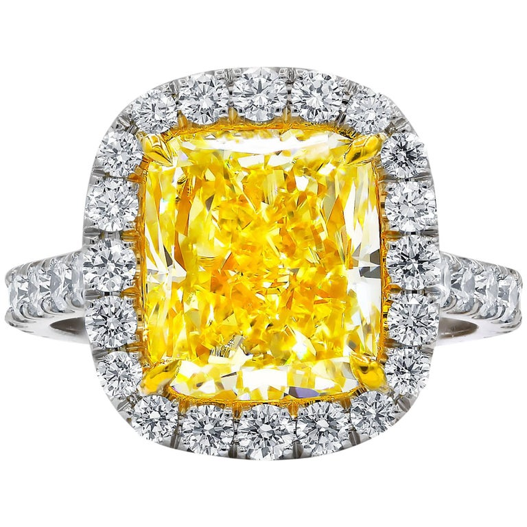 GIA Certified 5.00 Carat Canary Yellow Diamond Ring