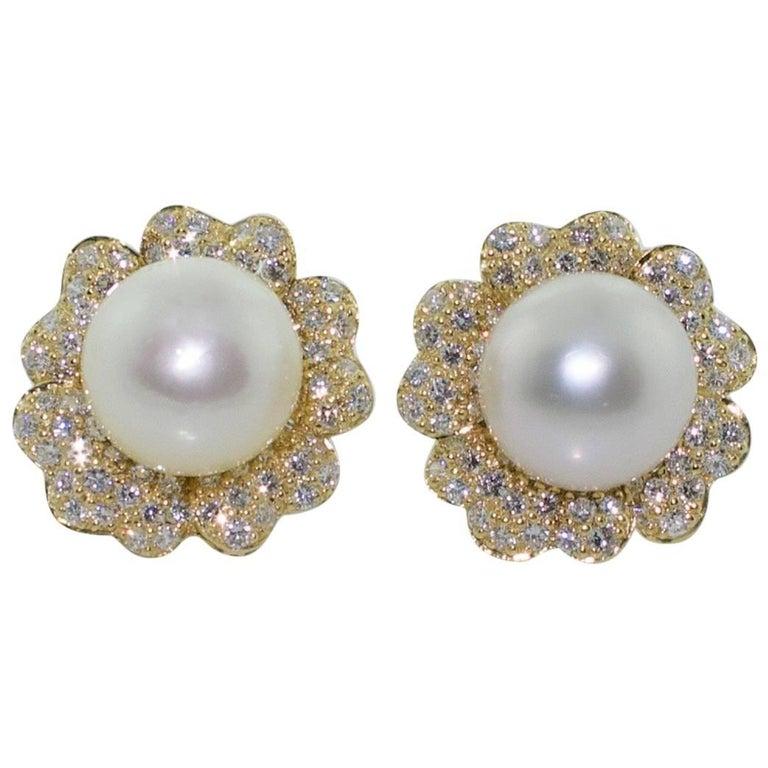 South Sea Pearls and Diamond 18 Karat Yellow Gold Earrings