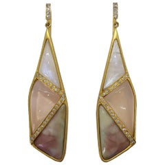 Lauren Harper Rose Quartz Moonstone Pink Agate Diamond Earrings