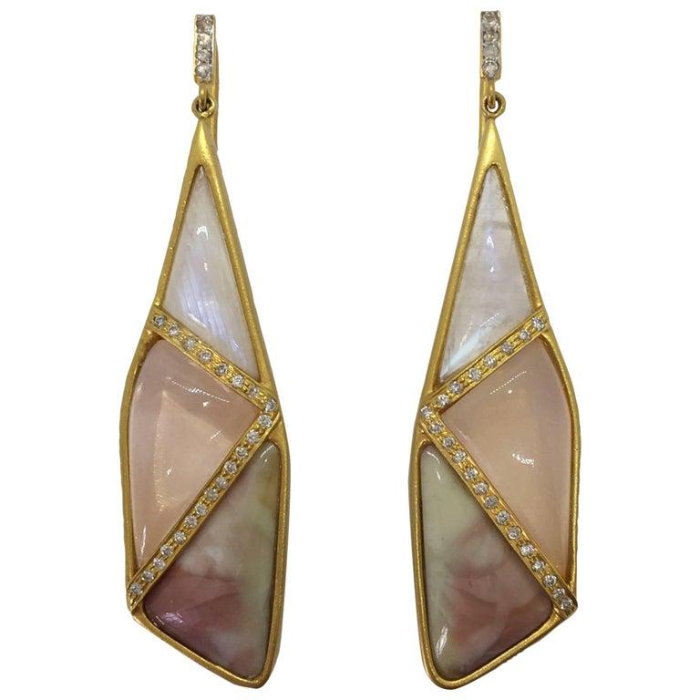 Lauren Harper Rose Quartz Moonstone Pink Agate Diamond Earrings