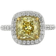 Mark Broumand 4.16 Carat Fancy Yellow Cushion Cut Diamond Engagement Ring