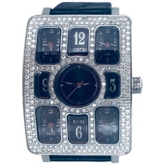 Icetex Quintempo Watch Five-Time Zone Diamond Swiss Movement Watch, Contemporary