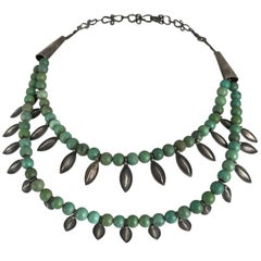 Ethiopian, Turquoise Sterling Silver Handmade Tiered Necklace, circa 1960
