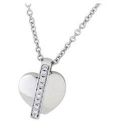 Piaget Diamonds Heart Necklace 18 Karat White Gold