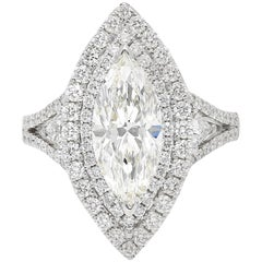 "GIA Certified 2.38 Carat Marquis-Cut ""H"" Color ""Si1"" Clarity Diamond Ring"
