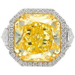 "GIA Certified 13.14 Carat Fancy Intense Yellow ""VVS1"" Clarity Diamond Ring"
