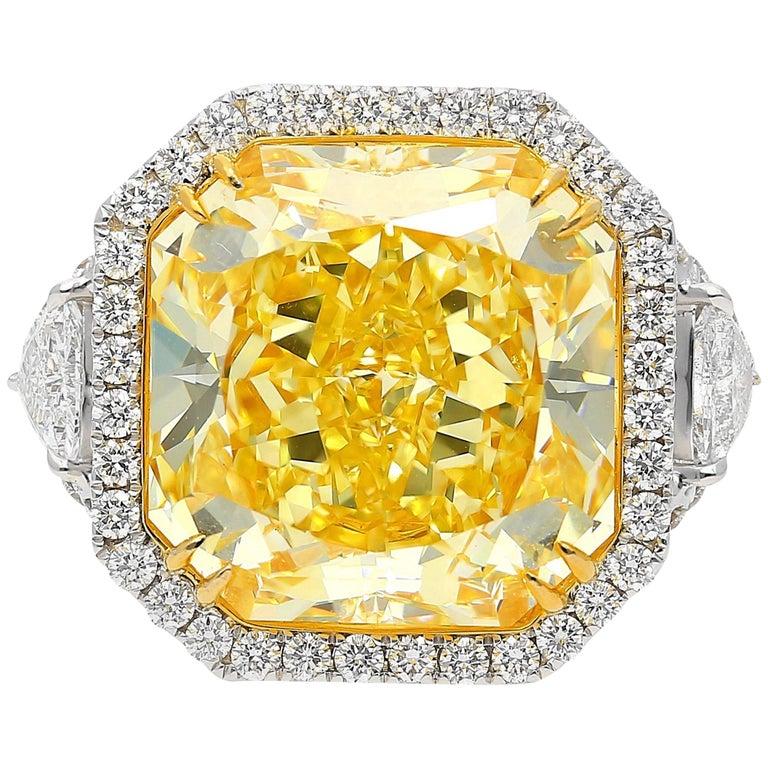 "GIA Certified 13.14 Carat Fancy Intense Yellow ""VVS1"" Clarity Diamond Ring"
