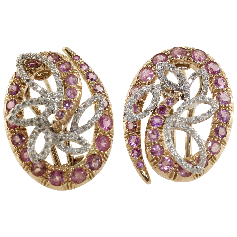Tourmalines Diamonds Rose Gold Earrings