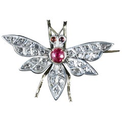 Victorian Ruby Diamond Butterfly 18 Carat Silver Brooch, circa 1900