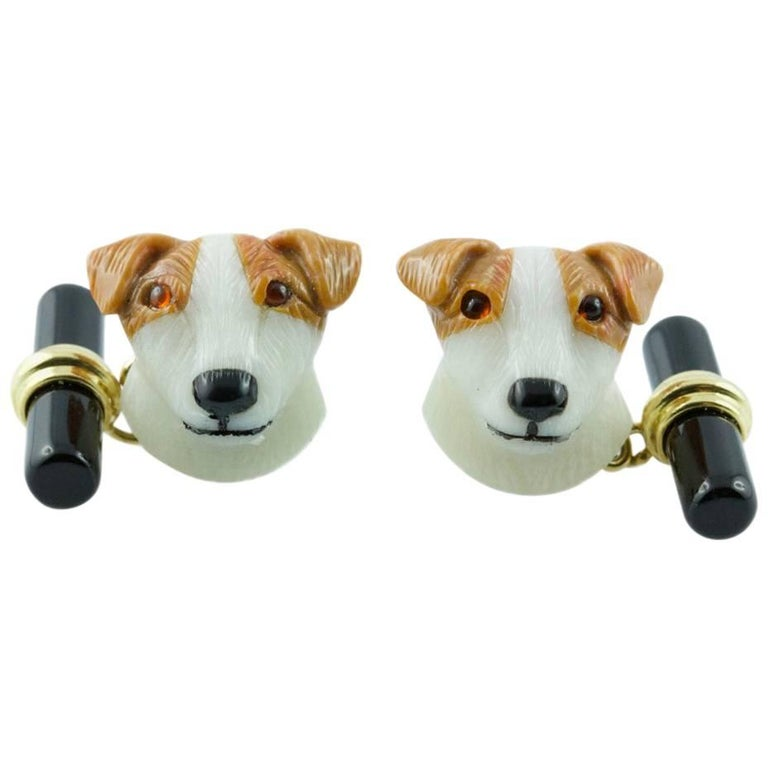 Gold Agate Dog Cufflinks with Rubies