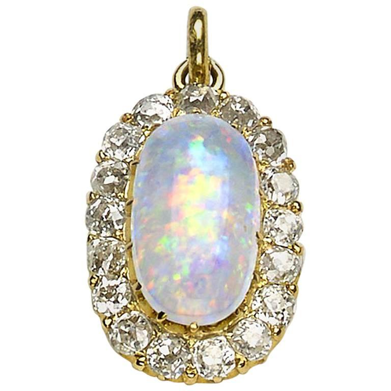 Opal and Diamond Cluster Pendant